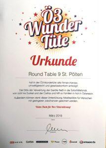 Ö3 Wundertüte Urkunde für den Round Table 9 St. Pölten